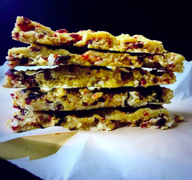 Vegan Raw Cranberry Coconut Energy Bars