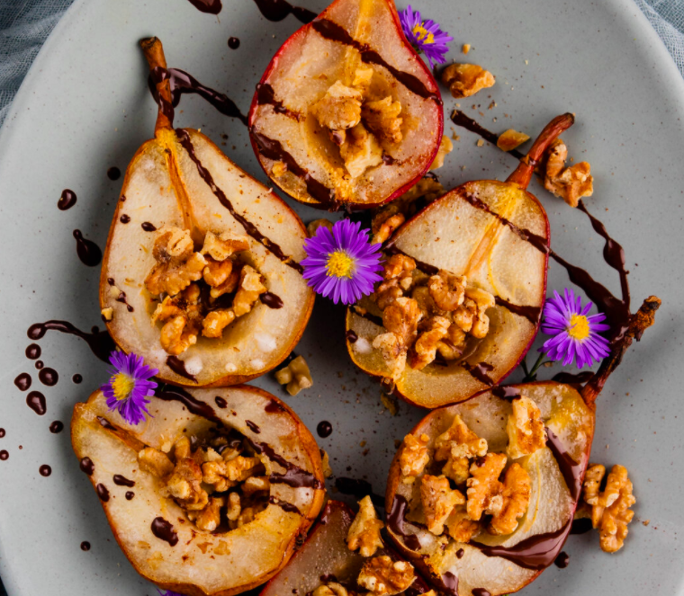 Baked Pears with Coconut Cream, Toasted Walnuts and Dark Chocolate Drizzle