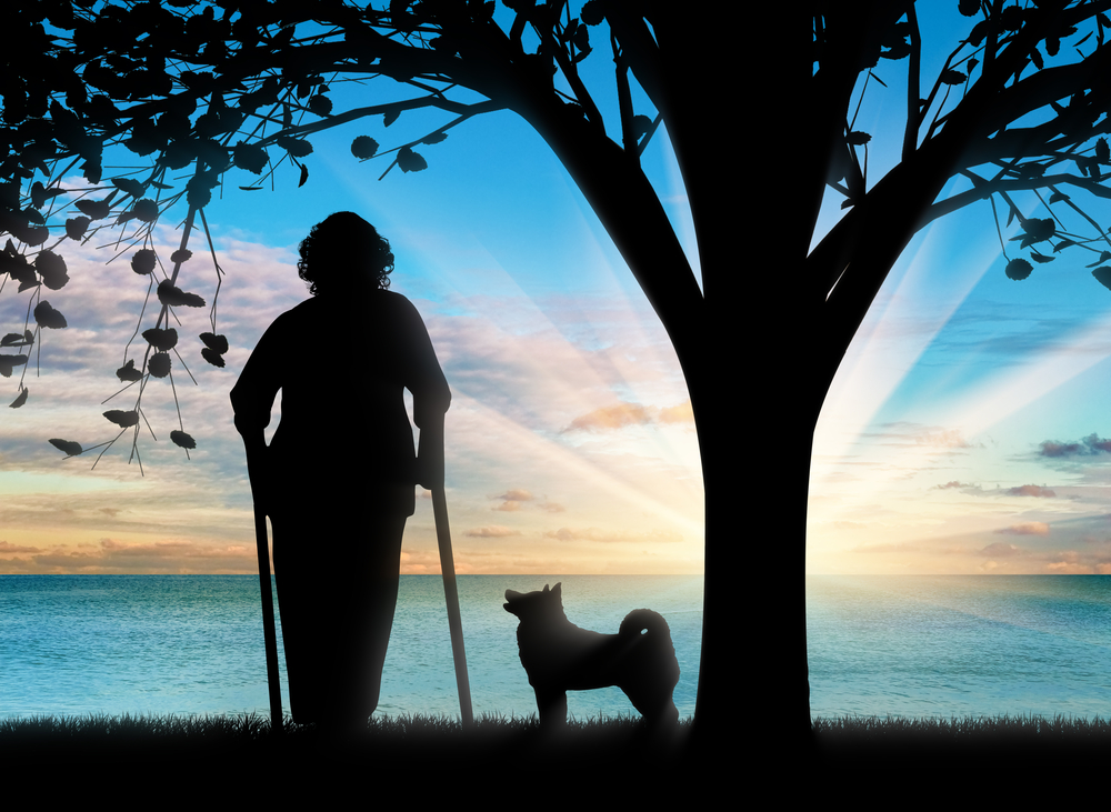 silhouette of Elderly woman with dog