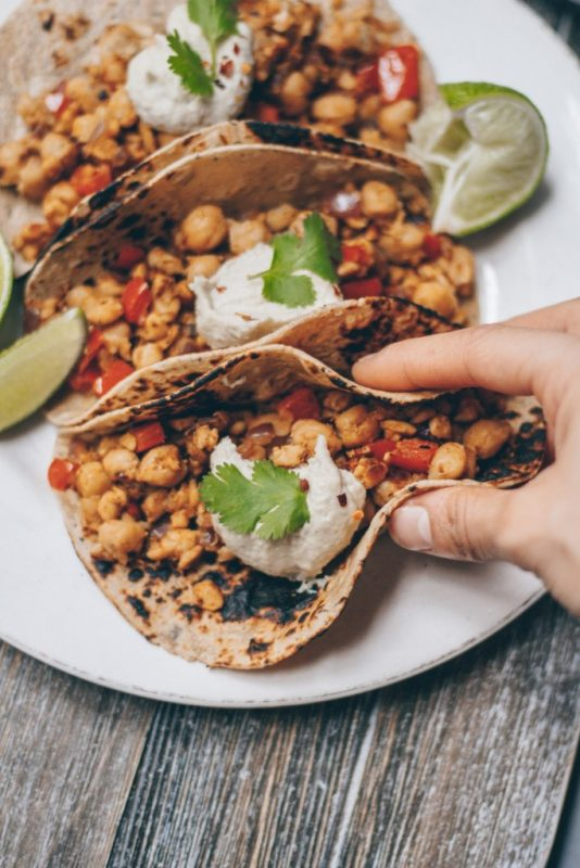 Chickpea Tempeh Tacos With Cashew Crema