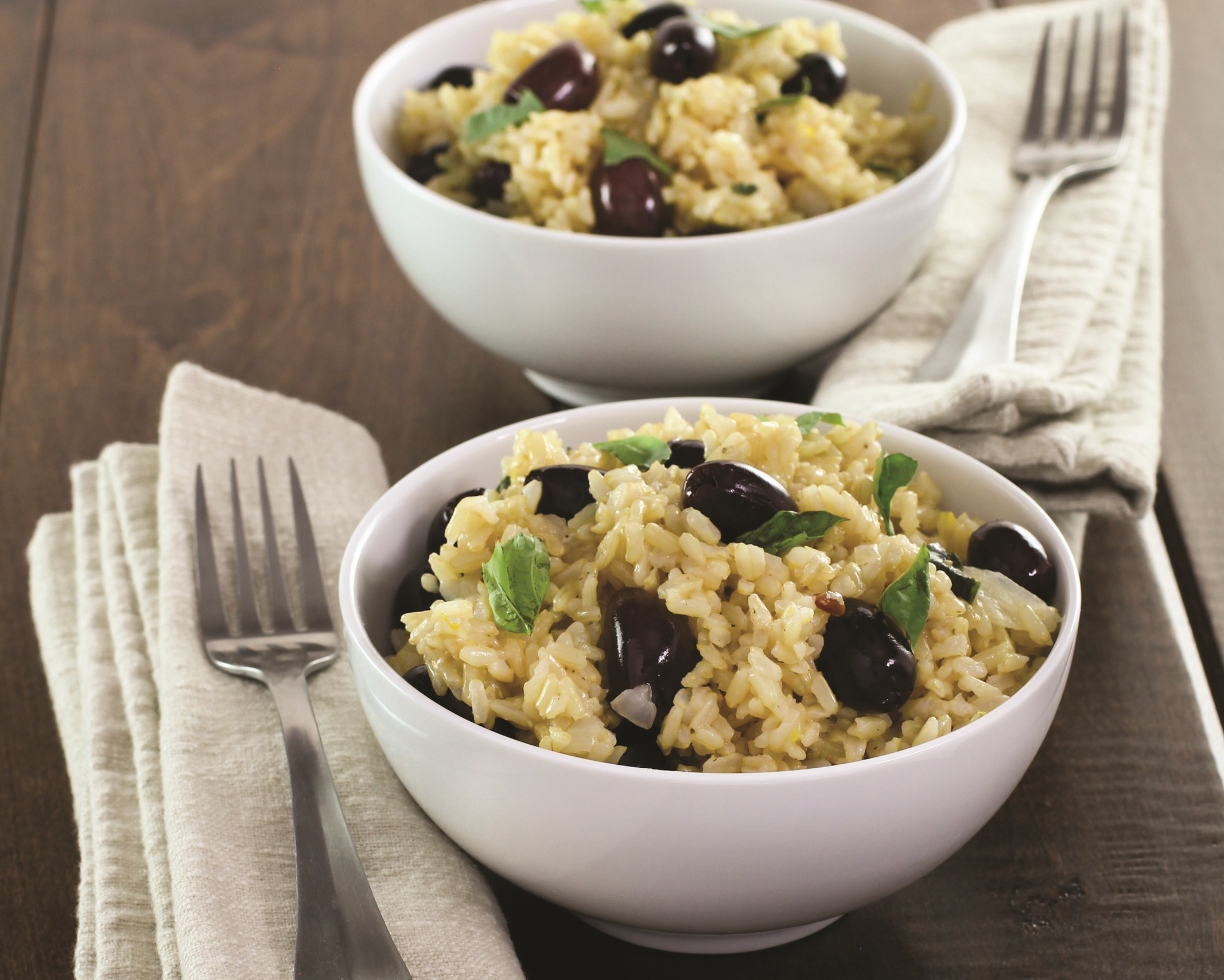 Rice with olives and basil made with less than ten ingredients