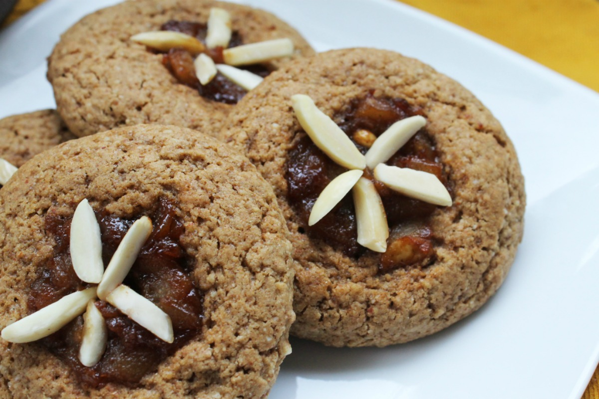 Almond and Pear Thumbprint Cookies