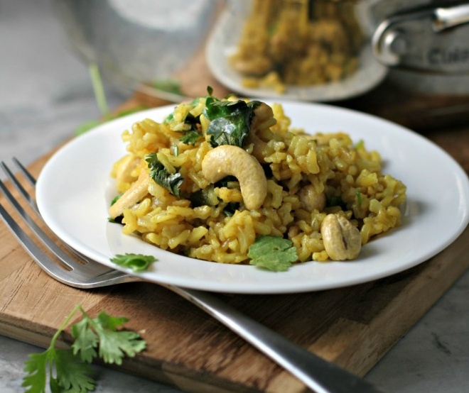Vegan Curried Rice and Cashews