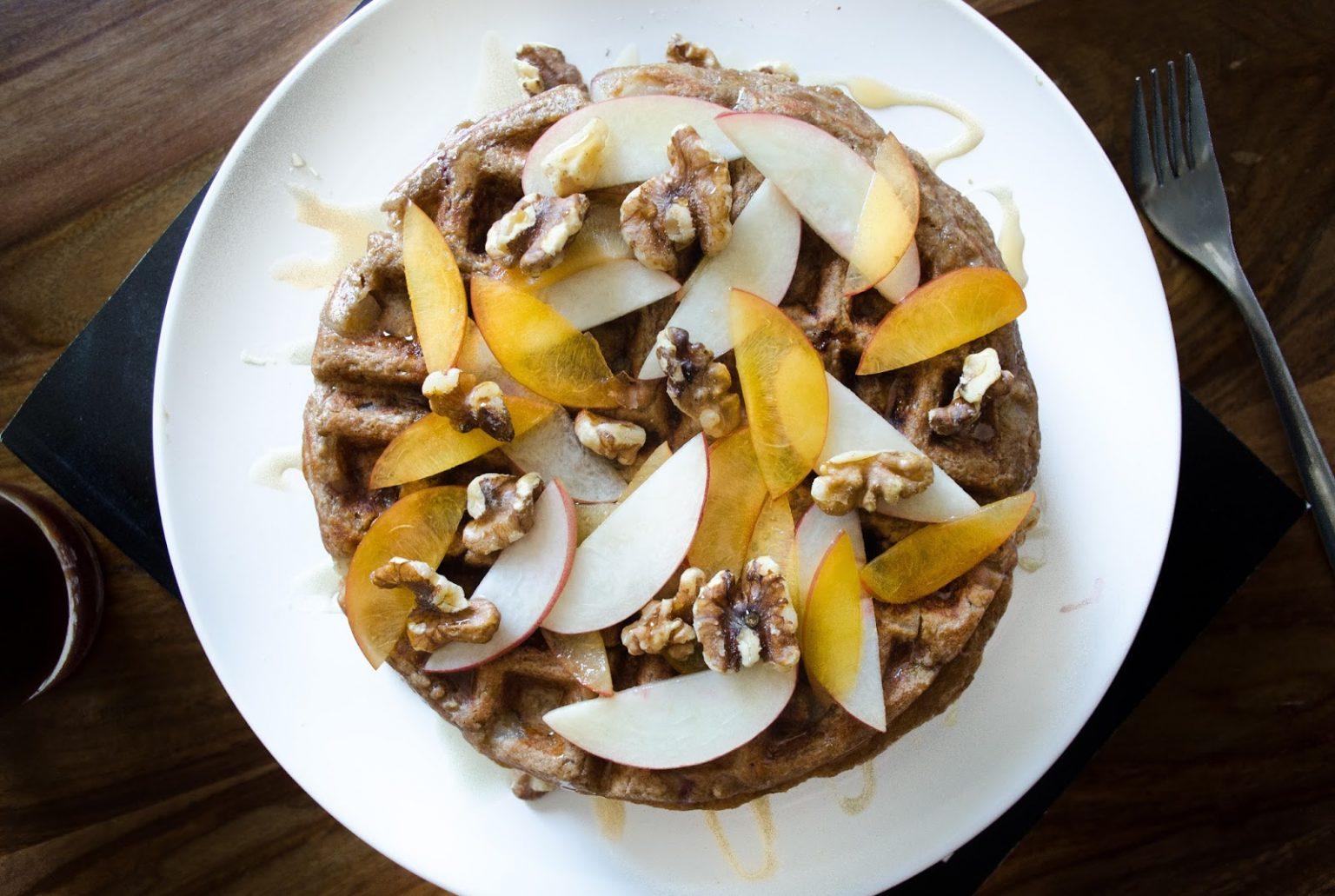 Vegan Summer Stone Fruit Waffles