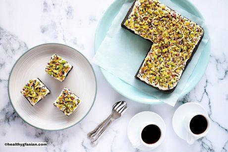 chinese black sesame cake with pistachio buttercream