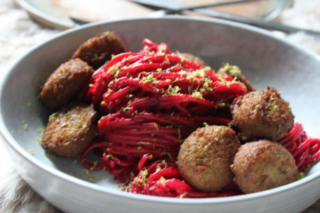 beet pasta with falafel