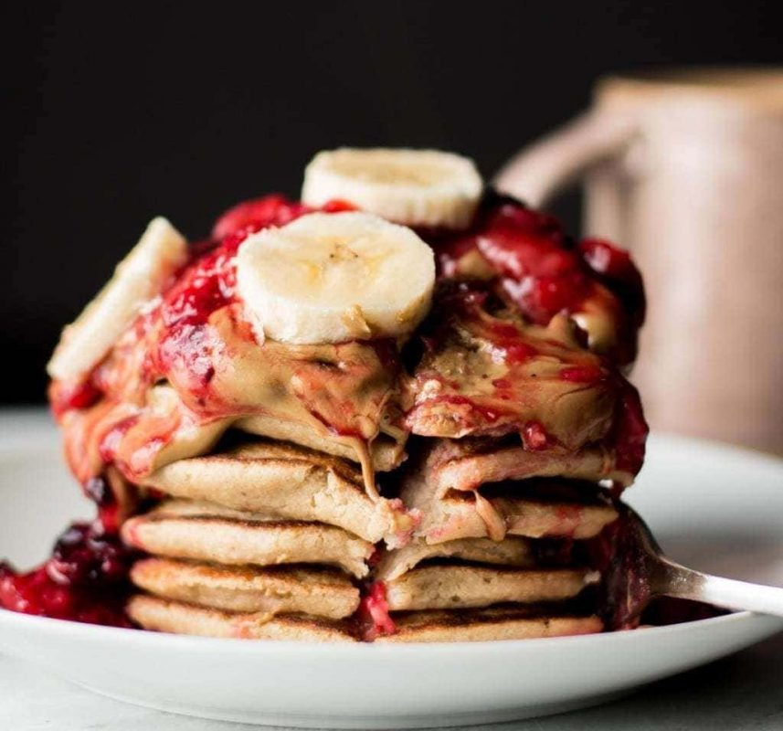 Vegan Banana Oatmeal Blender Pancakes with Berry Compote