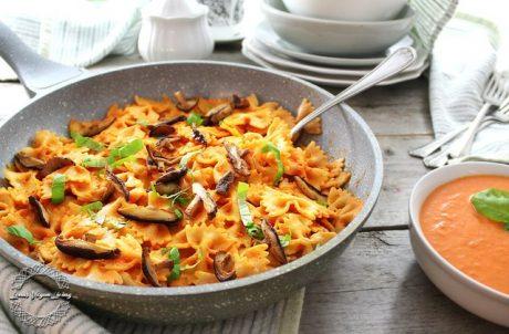 spelt farfalle pasta with cashew rose sauce