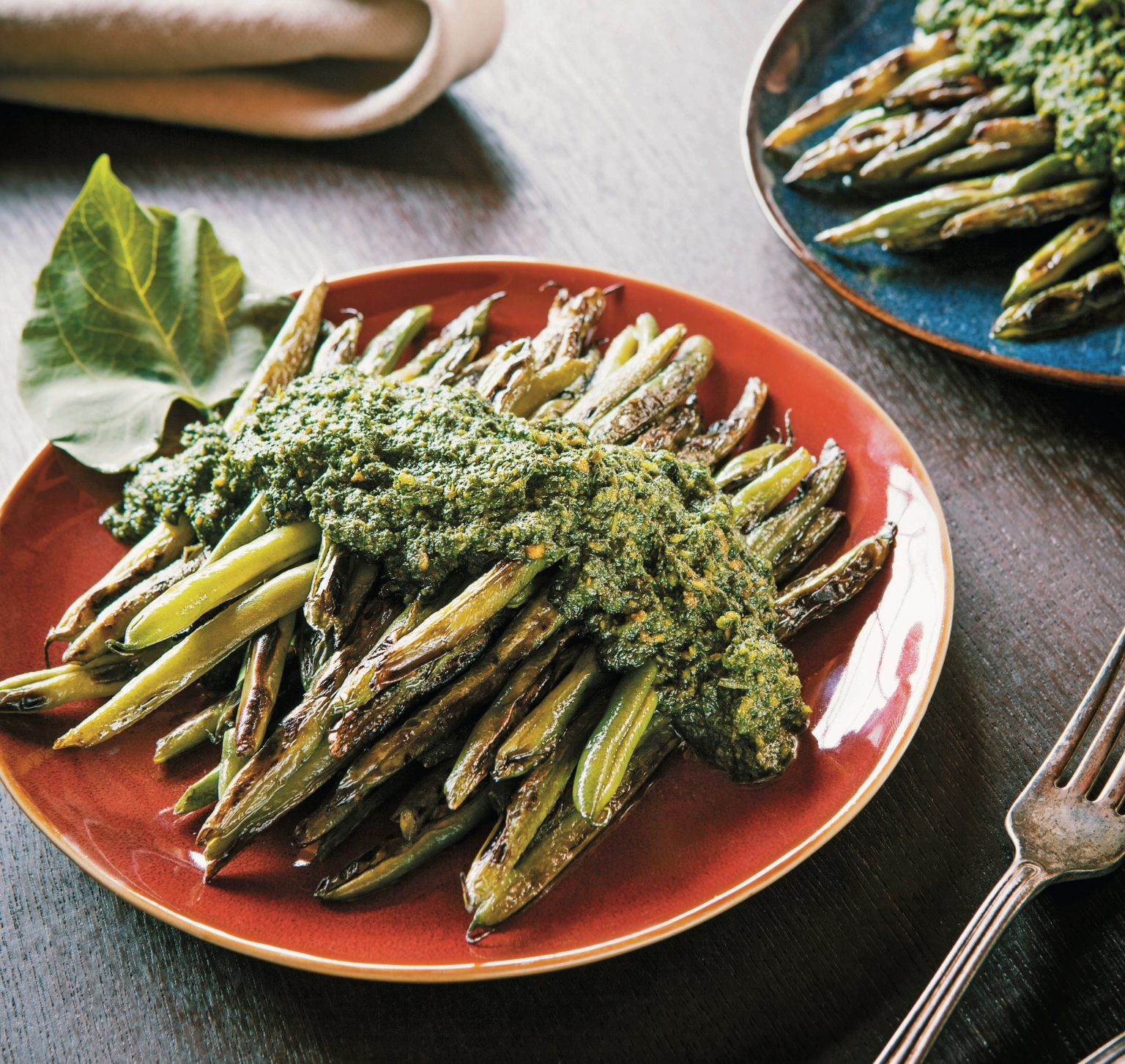 Vegan Pan-Charred Beans with Bean Leaf Pesto