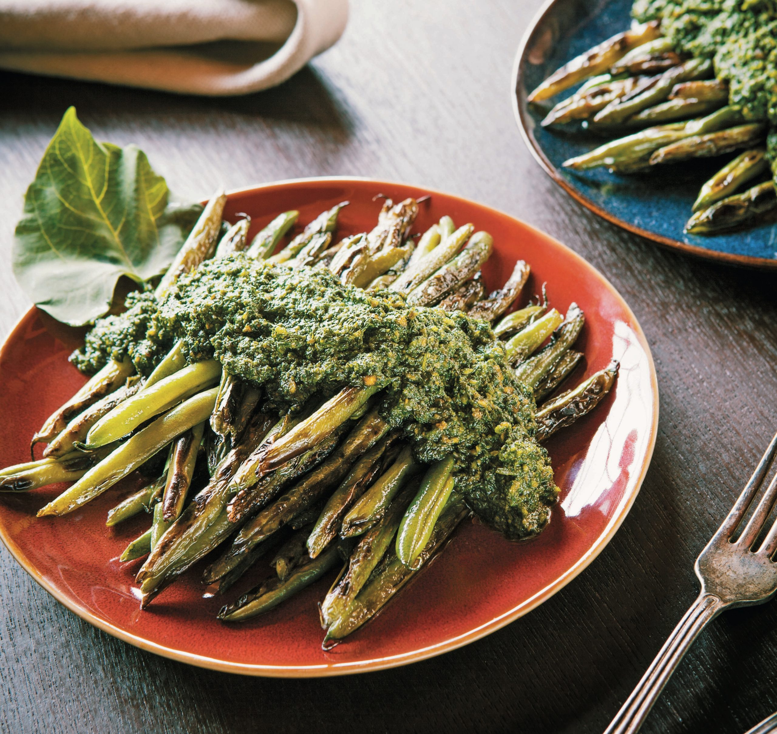 Pan Charred Beans with Bean Leaf Pesto