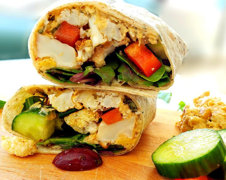 Vegan Roasted Greek Cauliflower Wraps With Hummus