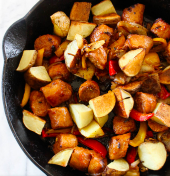 Skillet Sausage Peppers and Roasted Potatoes