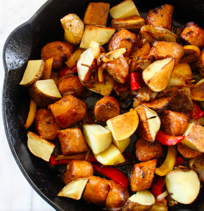 Vegan Skillet Sausage Peppers and Roasted Potatoes