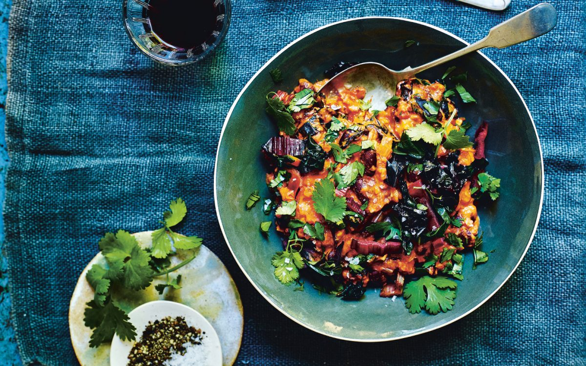 15-Minute Rainbow Chard, Red Bean, and Peanut Stew