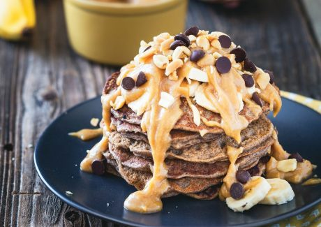 Vegan Buckwheat Banana Bread Pancakes with Peanut Butter Syrup