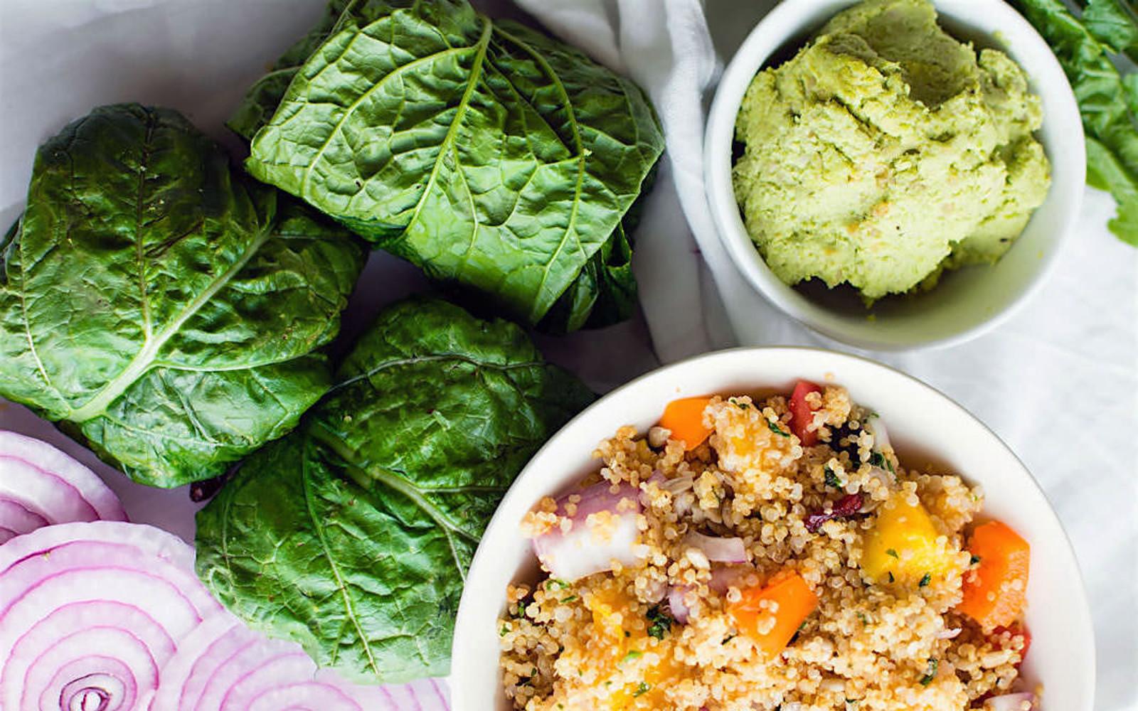 Protein-Packed California Quinoa Collard Wraps With Edamame Pesto