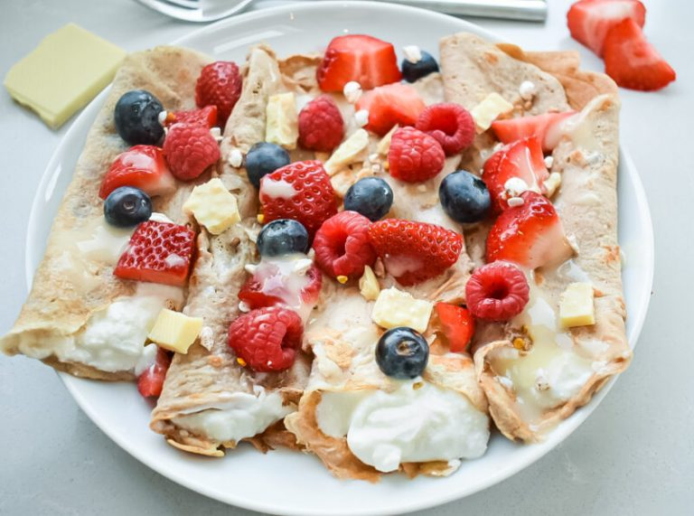 Vegan White Chocolate and Berry Crepes