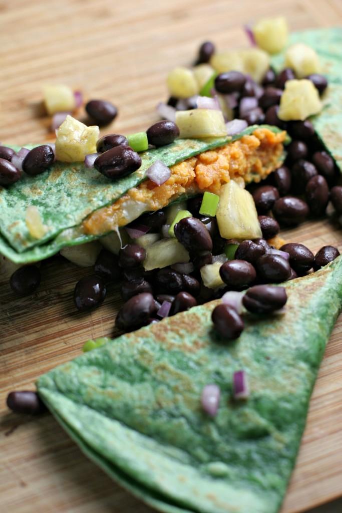 Sweet Potato Quesadillas With Black Bean Pineapple Salsa