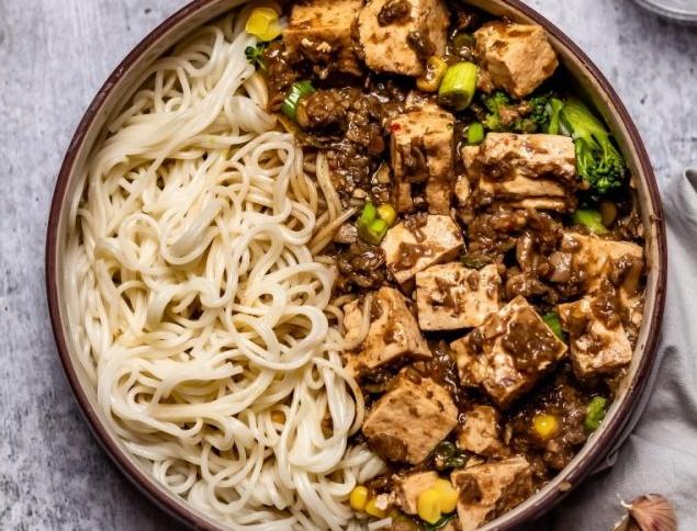 Tofu with Mushroom Mince