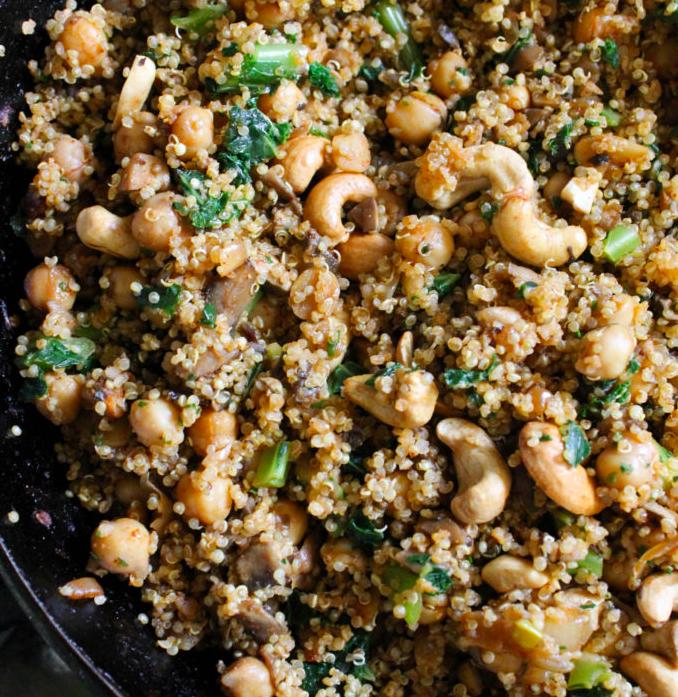 Vegan Chickpea Mushroom Quinoa Skillet Dinner