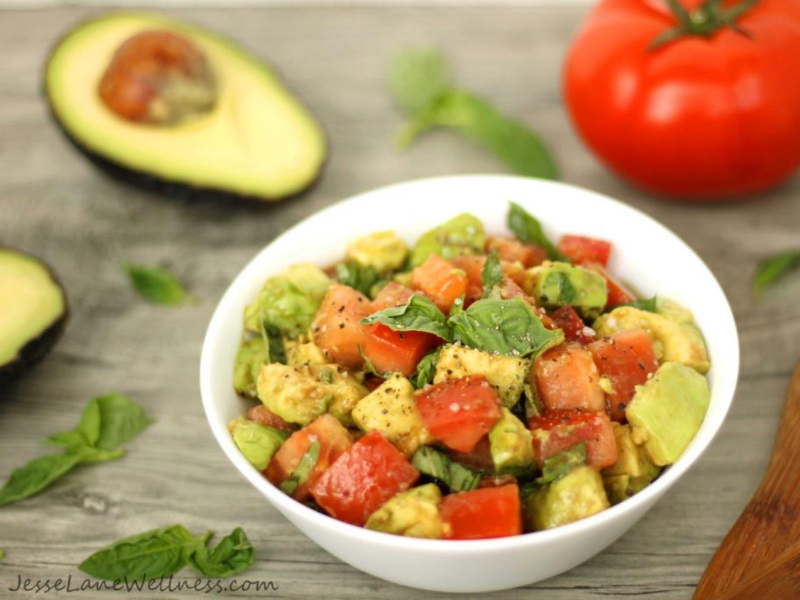 Summer Tomato Basil and Avocado Salad