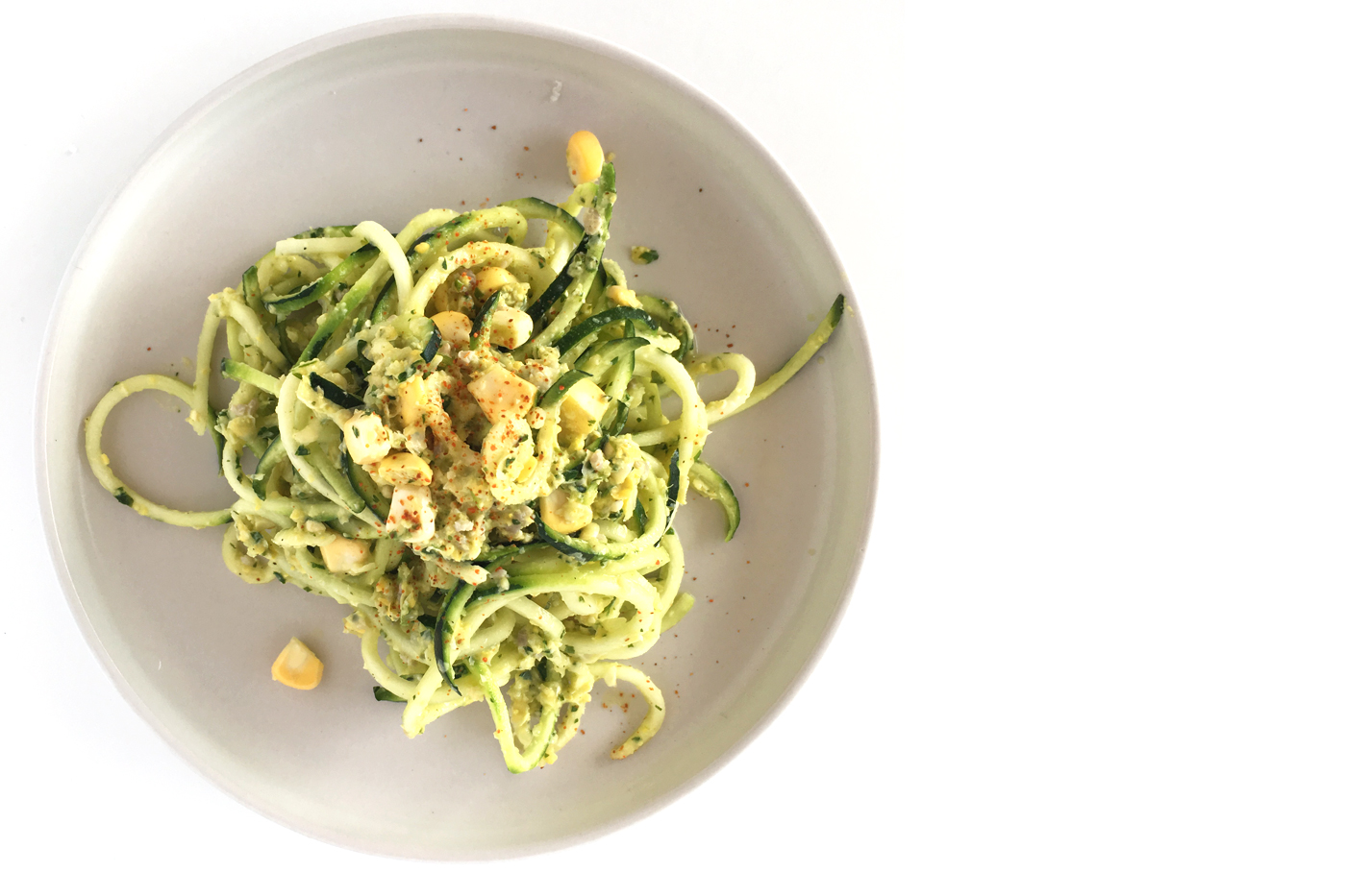 Click to share on Pinterest (Opens in new window) Click to share on Facebook (Opens in new window) Click to share on Twitter (Opens in new window) Click to share on Tumblr (Opens in new window) Zucchini pasta with sweet corn cilantro pesto