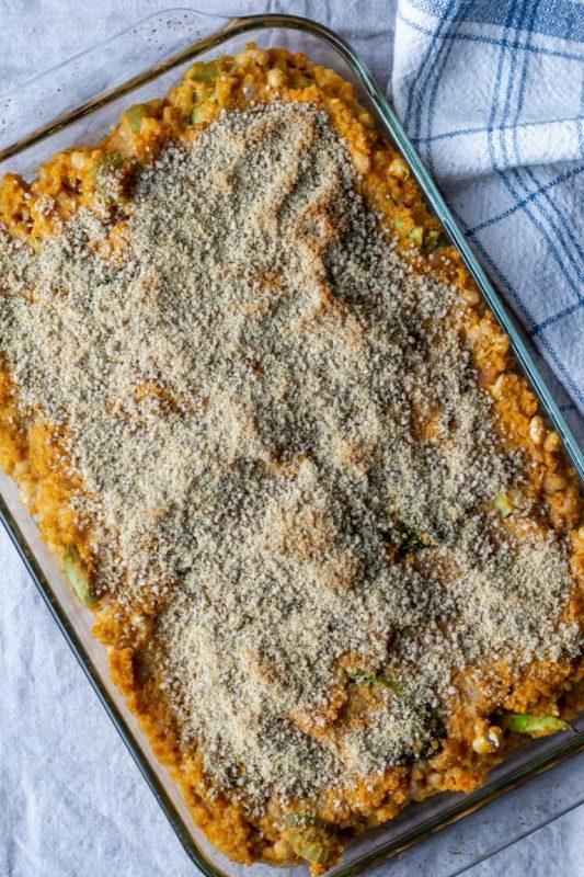 Cheesy Broccoli, Quinoa, and White Bean Bake