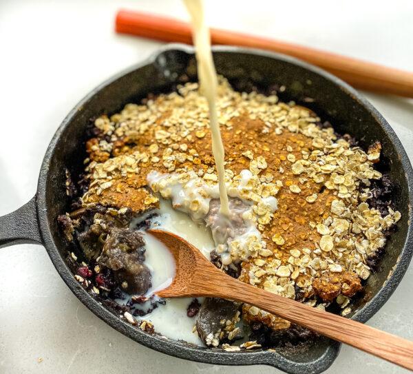 Vegan Rhubarb and Blackberry Crumble