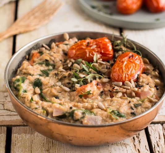 Vegan Mediterranean Savory Oatmeal with Millet