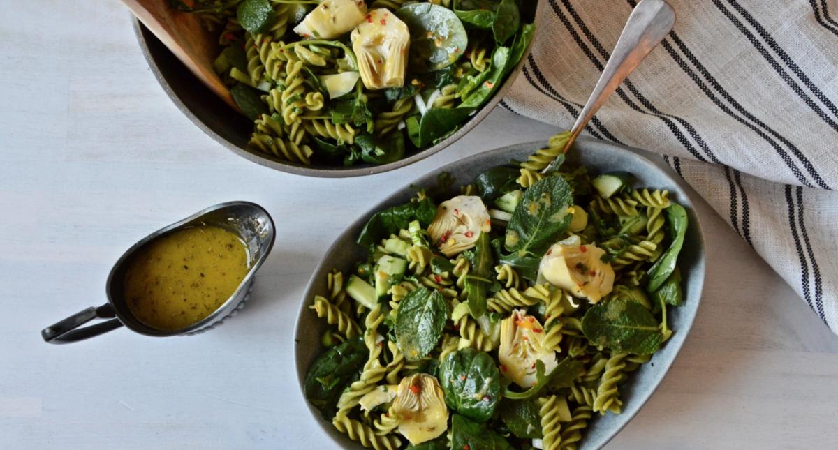 Vegan Green Pea Fusilli Salad with Orange Citrus Vinaigrette