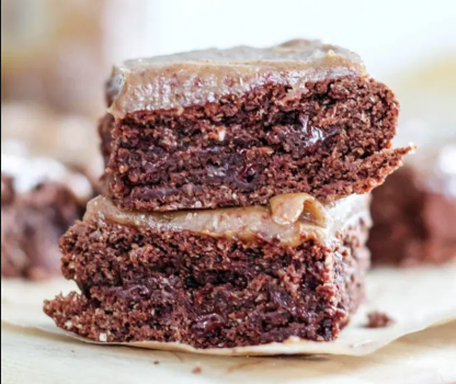 oat flour almond butter brownies with salted date caramel frosting