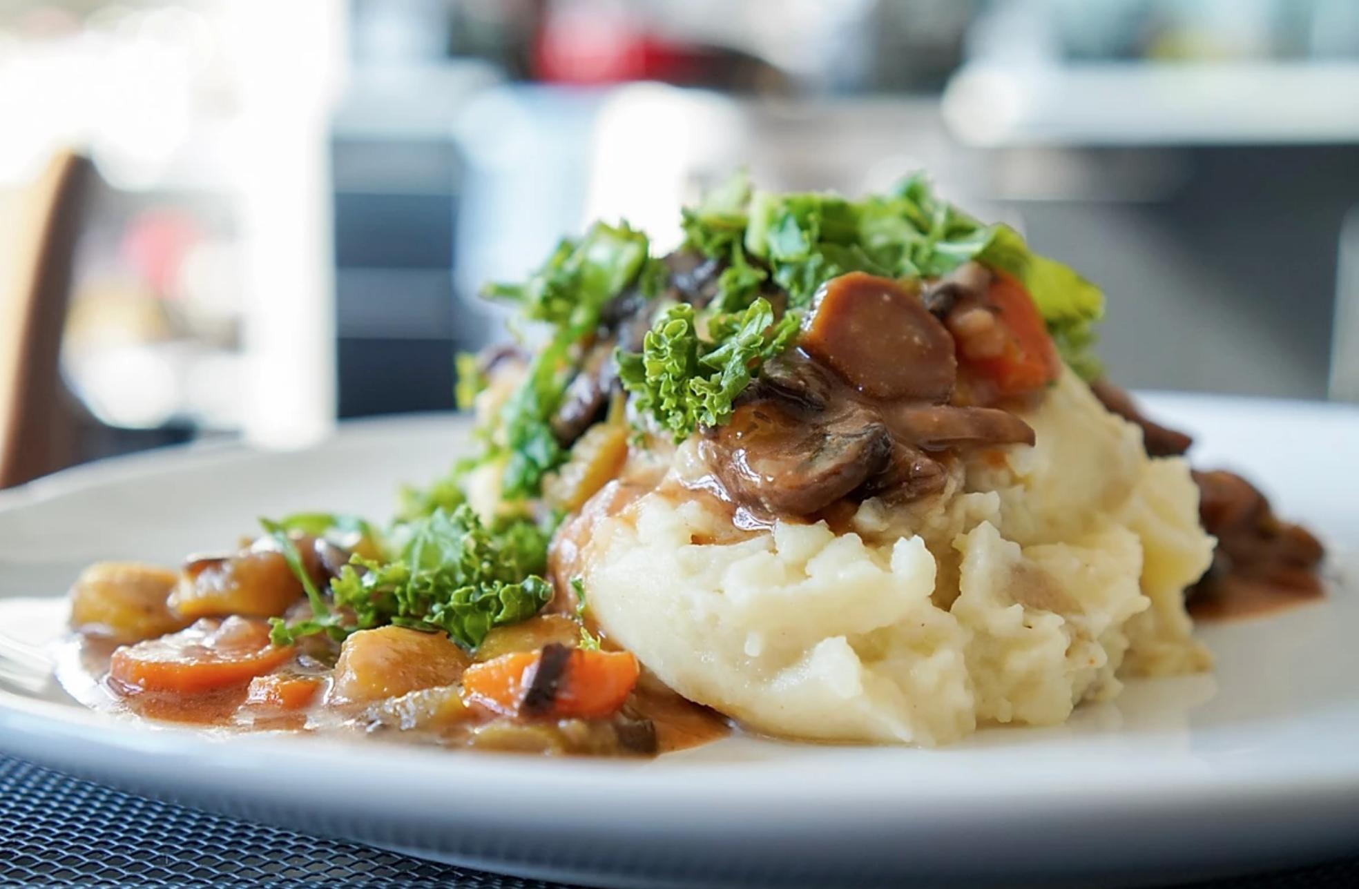 Mushroom Bourguignon with Vegan Mashed Potatoes