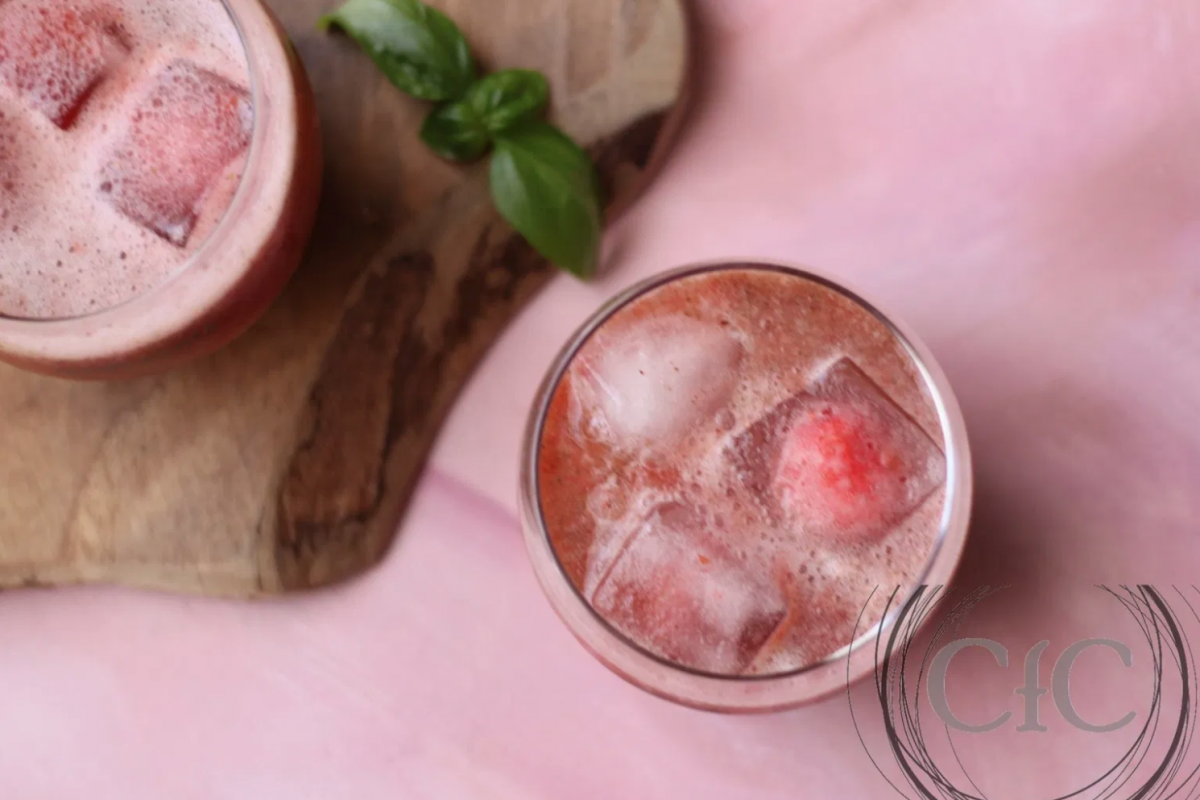 Vegan Loaded Strawberry Basil Lemonade