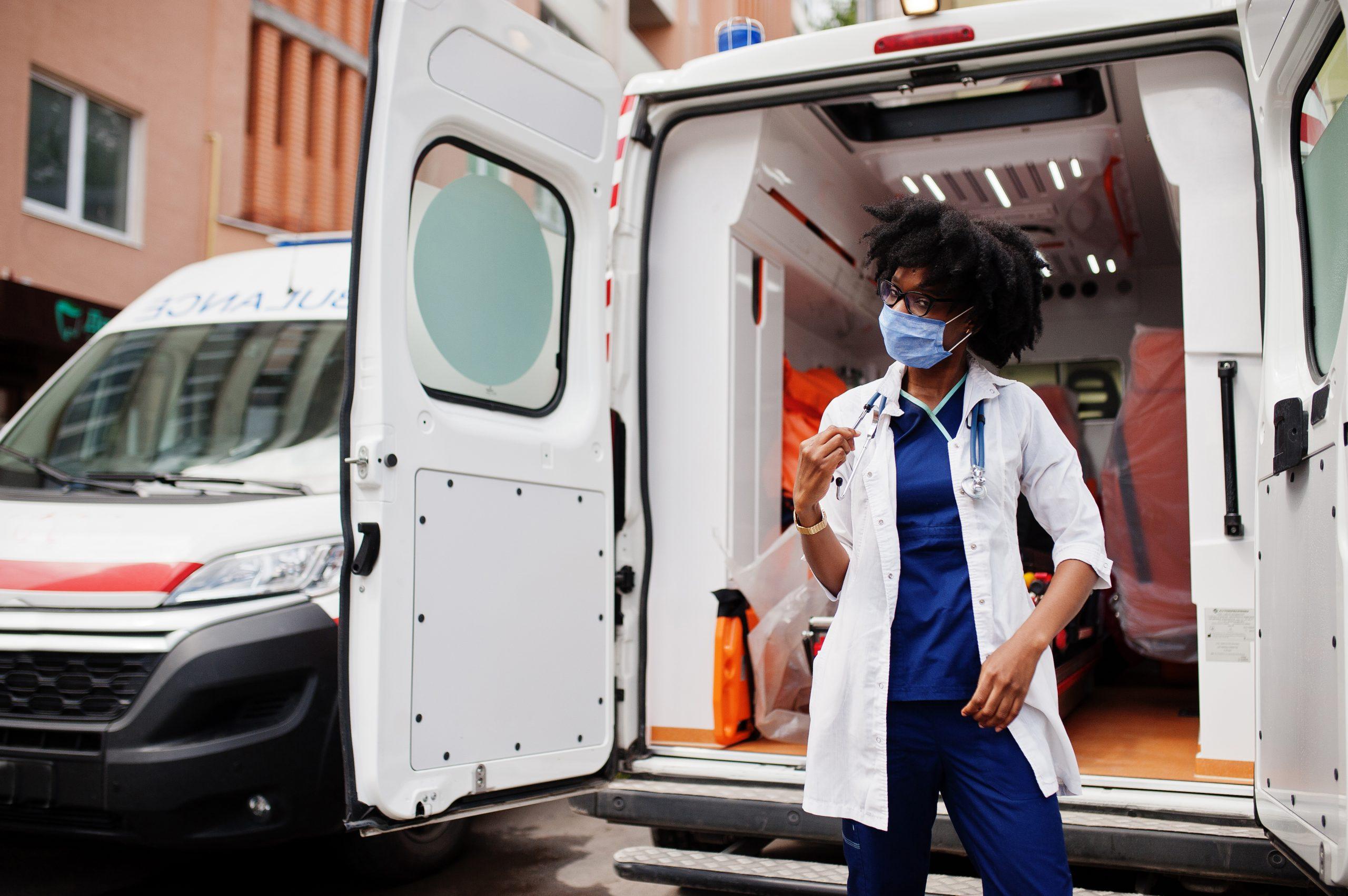 Ambulance Driver With mask on