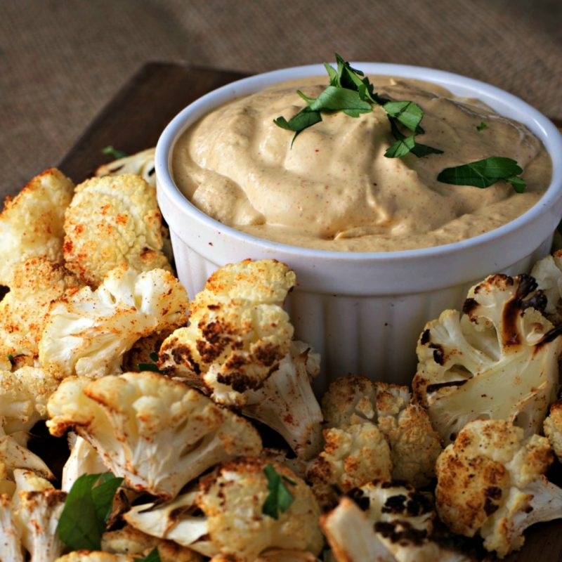 Vegan Cauliflower Bites with Spicy Almond Dip
