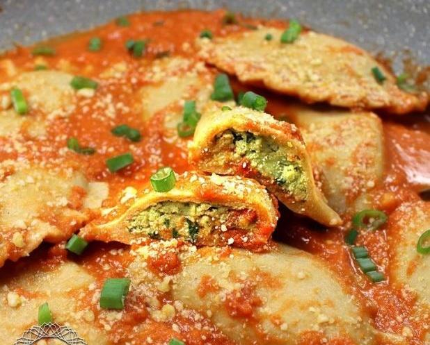 Vegan Kamut Ravioli with Almond Ricotta & Spinach in Marinara