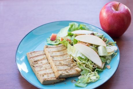 Grilled Mojo Tofu and Apple Vegan Bacon Salad