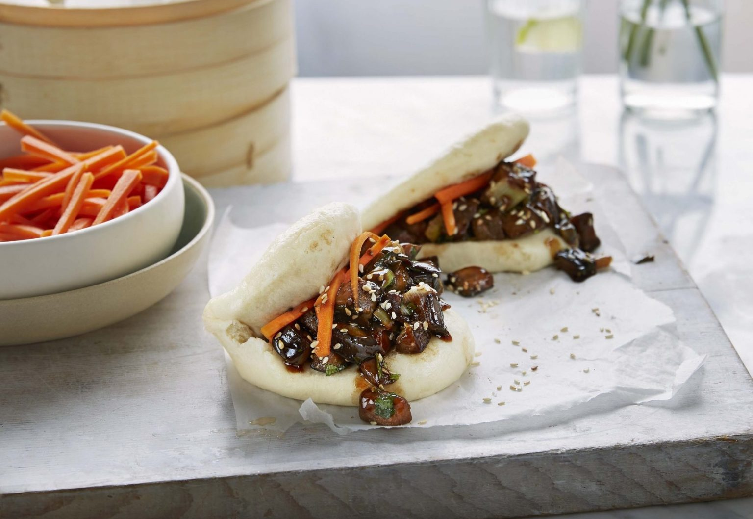 Vegan Simple Bao Buns with Hoisin Eggplant and Quick Pickled Carrot