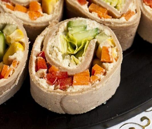 Vegan Cream Cheese Pinwheels with Fresh Veggies