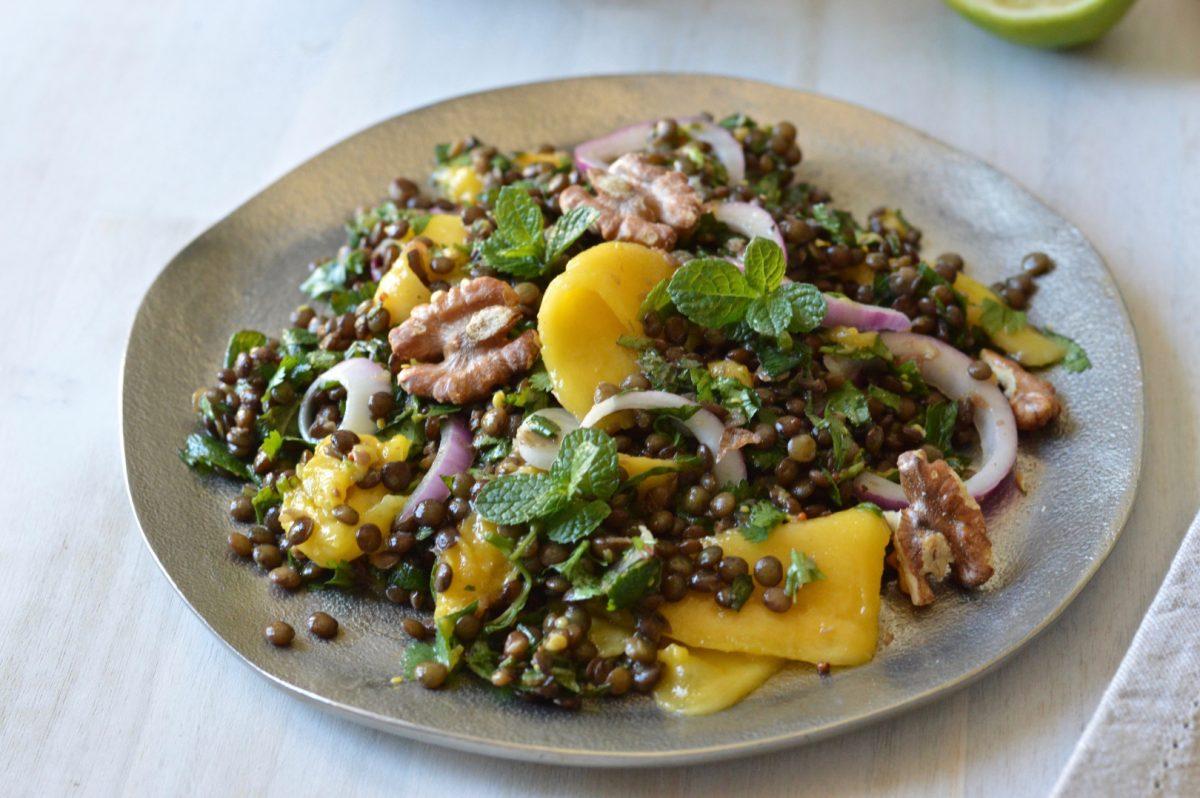 Vegan Lentil, Herb, and Mango Salad