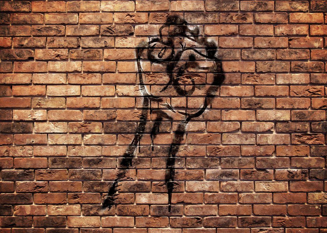 fist on brick wall