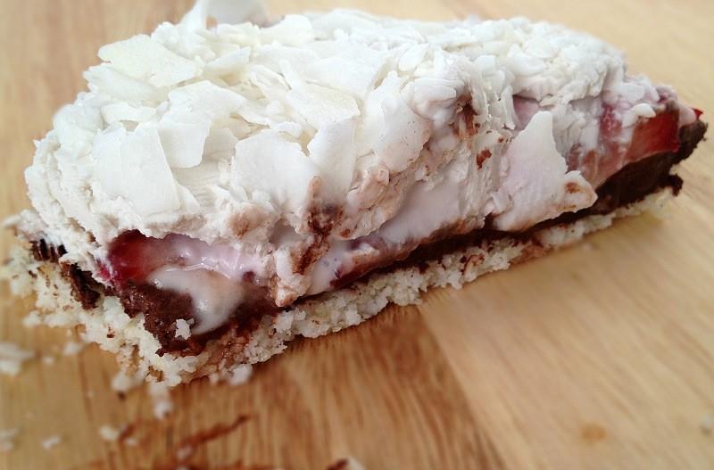 Raw Strawberry Chocolate Coconut Pie