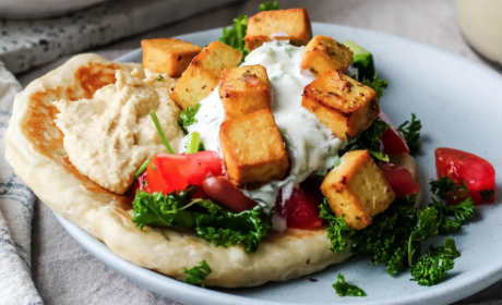 vegan greek lemon herb tofu naanwiches