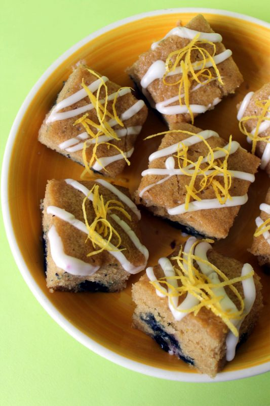 Vegan Lemon & Blueberry Cake Squares