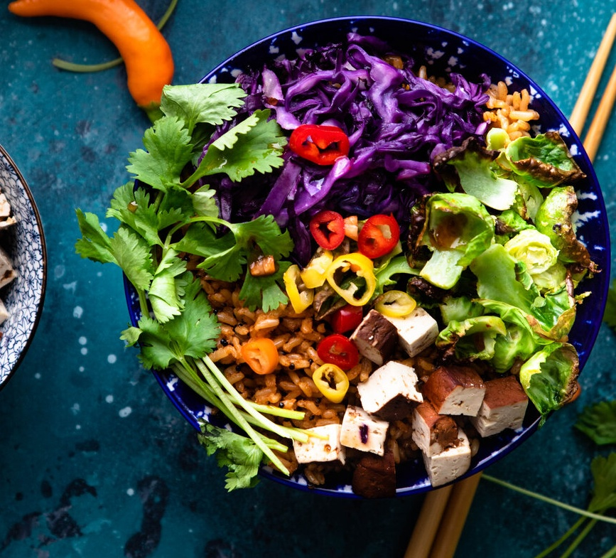 Vegan Veggie Bowl with Braised Tofu