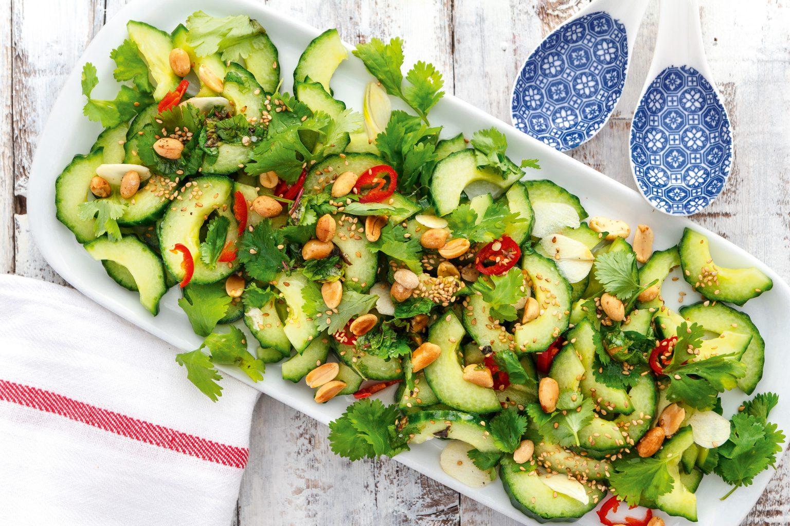 Vegan Vietnamese Cucumber Salad with Cilantro and Roasted Peanuts