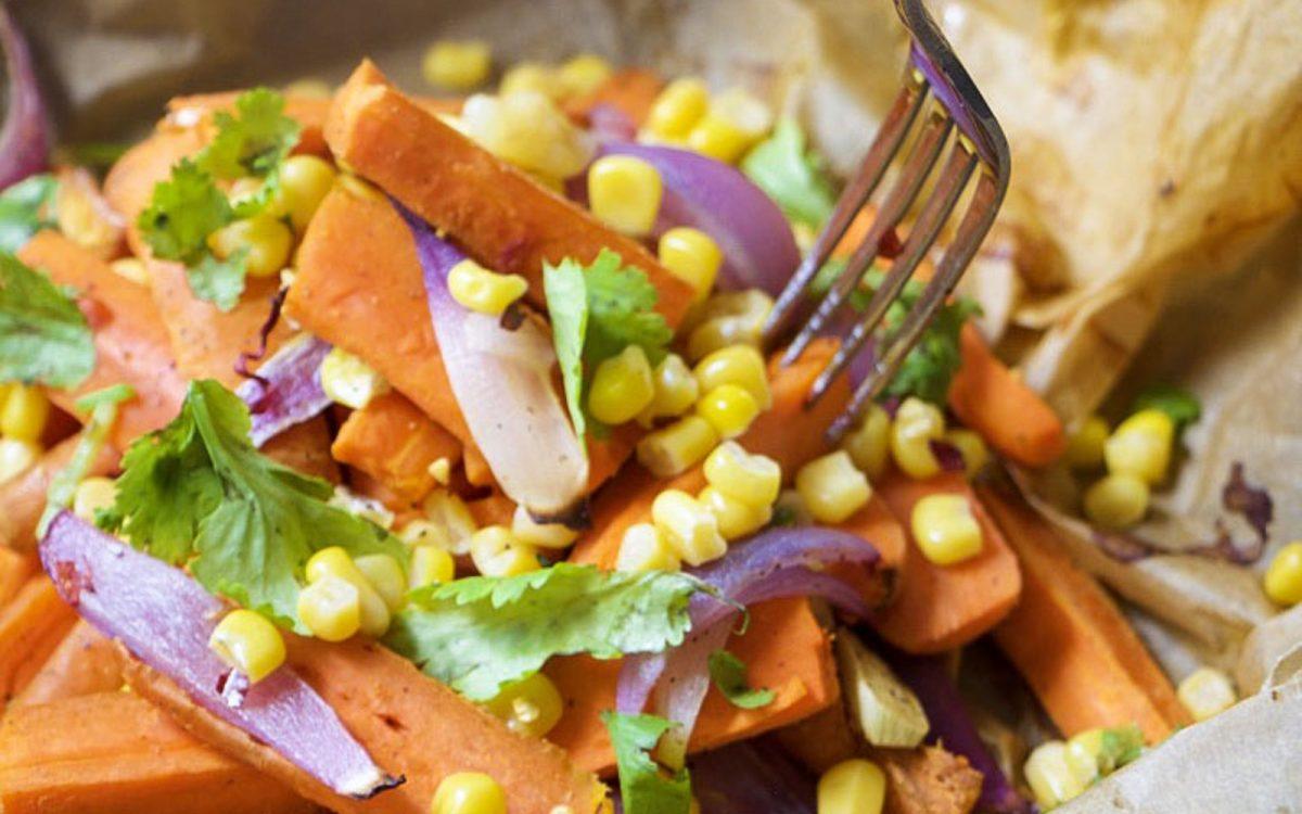 Roasted Carrot Salad With Charred Scallion Cilantro Pesto