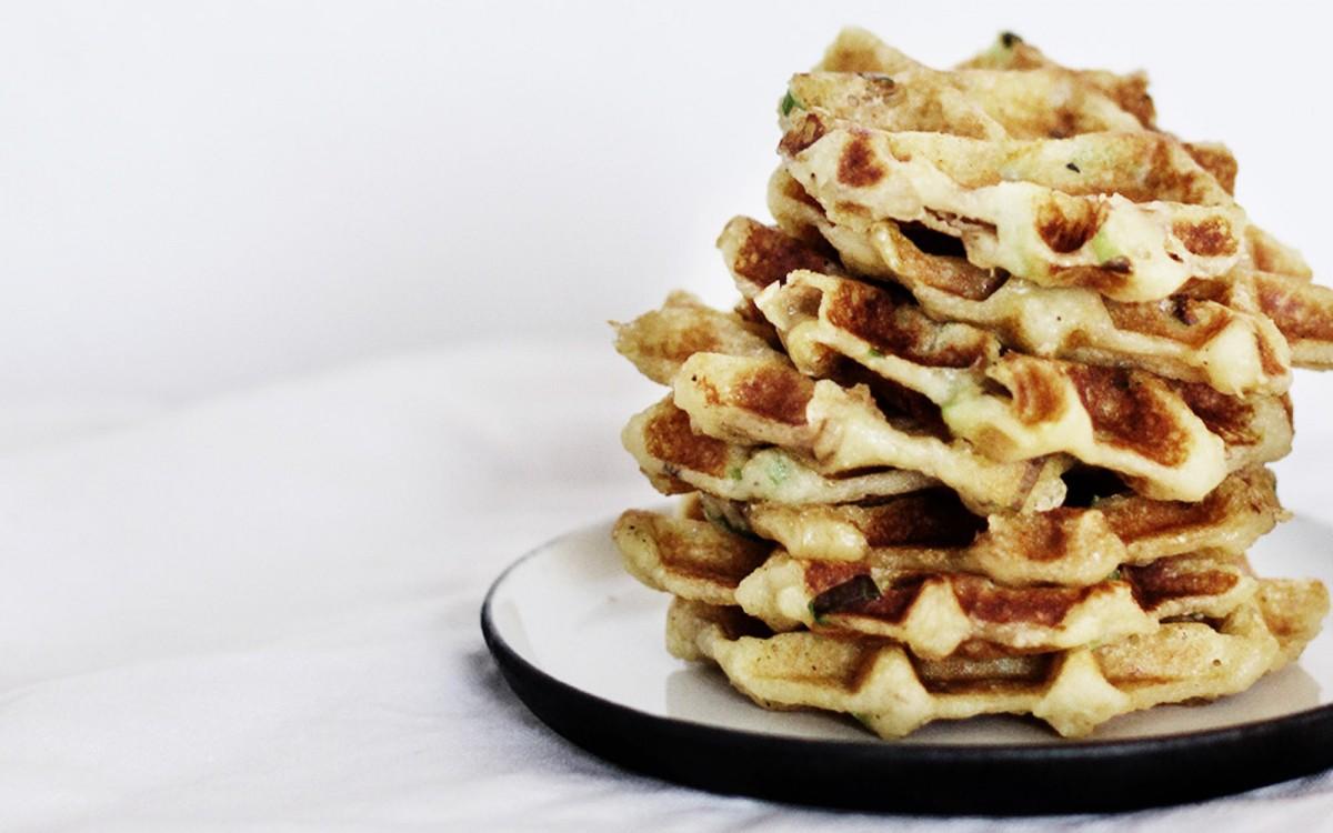 Cheese and Scallion Potato Waffles