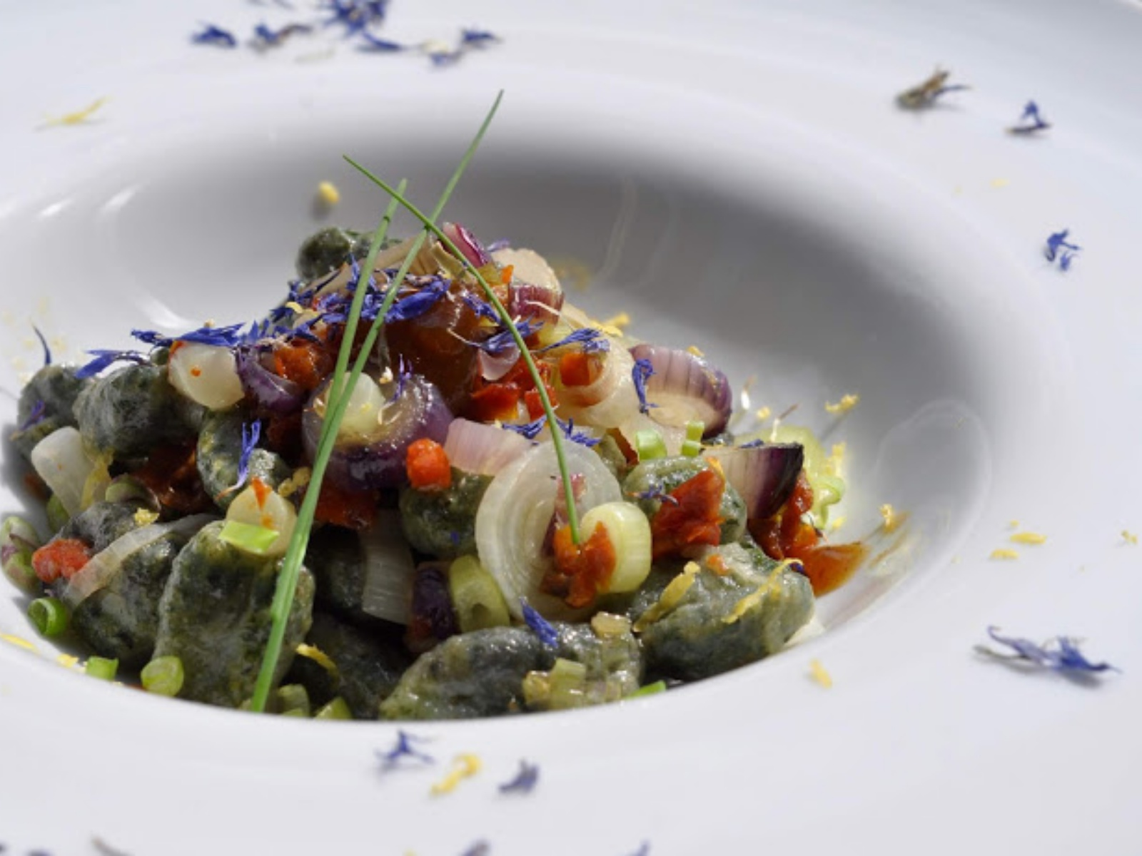 Nettle Gnocchi with Dried Tomatoes and Spring Onions