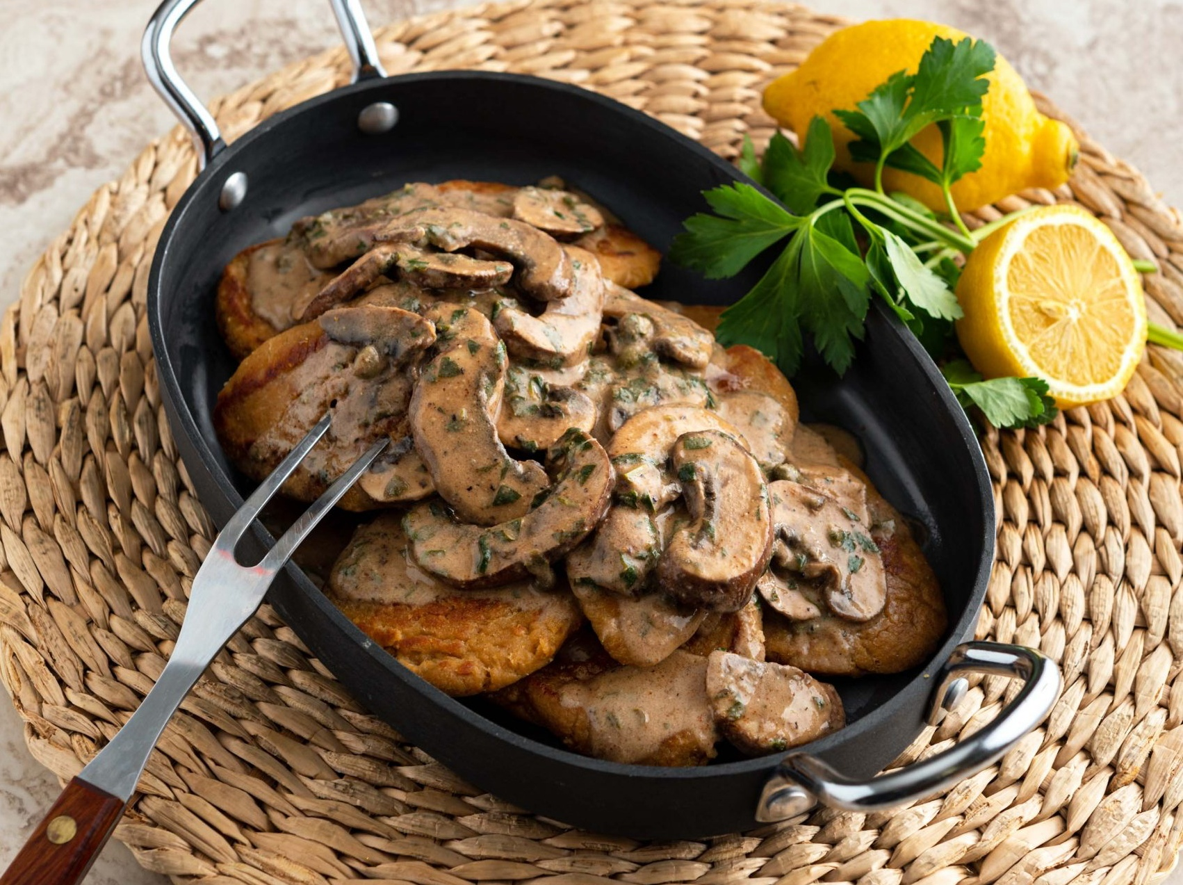 Chickpea Piccata with Mushrooms